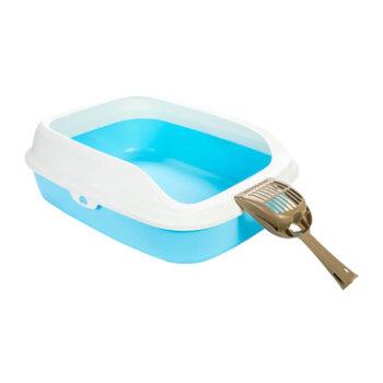 【忆驰】TOMCATオープン型猫砂盆猫シャベル付きペット猫の糞便器トイレの超大型猫砂盆砂の飛散散から防臭を防ぐために二重に青色Mサズができます。