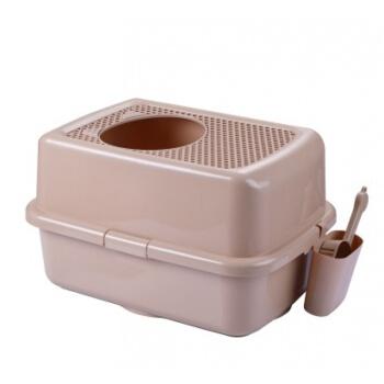 ペットの猫の砂のたらいはすべて閉じて猫のトイレのウォーム式のプラスチックの猫の糞のたらいはベントナイトを潤して猫の便器のシャンパン色を消臭します。