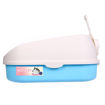 半閉塞式単一層Lサズ猫砂盆猫トイレ送りスコップグレーカレー色半閉塞海洋青