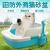 美吉氏の猫砂盆の半閉塞式猫トイレのペダル付きの脱臭防止のために、猫用品の湖の水色の円形(長さ37 cm幅28 cm高さ15 cm)