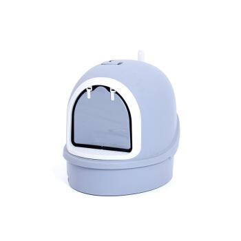 MEET猫砂盆は全部閉鎖されています。豪華二階建て猫トイレのペット猫砂鉢猫便器の亜灰:55*42*43 cm