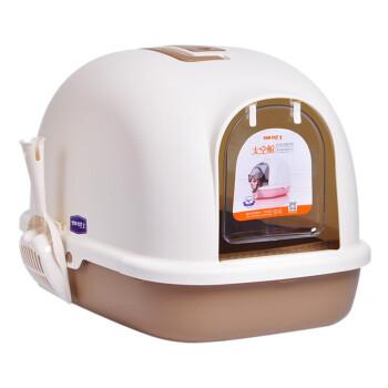 【1つ買います。4つ送ります。】TOMCAT猫砂盆特Lサズ猫トイレ2階建てカバ猫トイレ英倫モカMサズ【50*38*39 cm/仕切りなし】