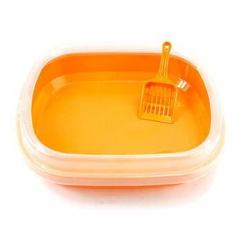 スモーフィー特Small Feetキャンディー色の砂の飛散を防止します。猫砂盆の猫トイレにスップペットトイレの猫トイレのオレンジ色のサイズは約47*39*12.5 cmです。
